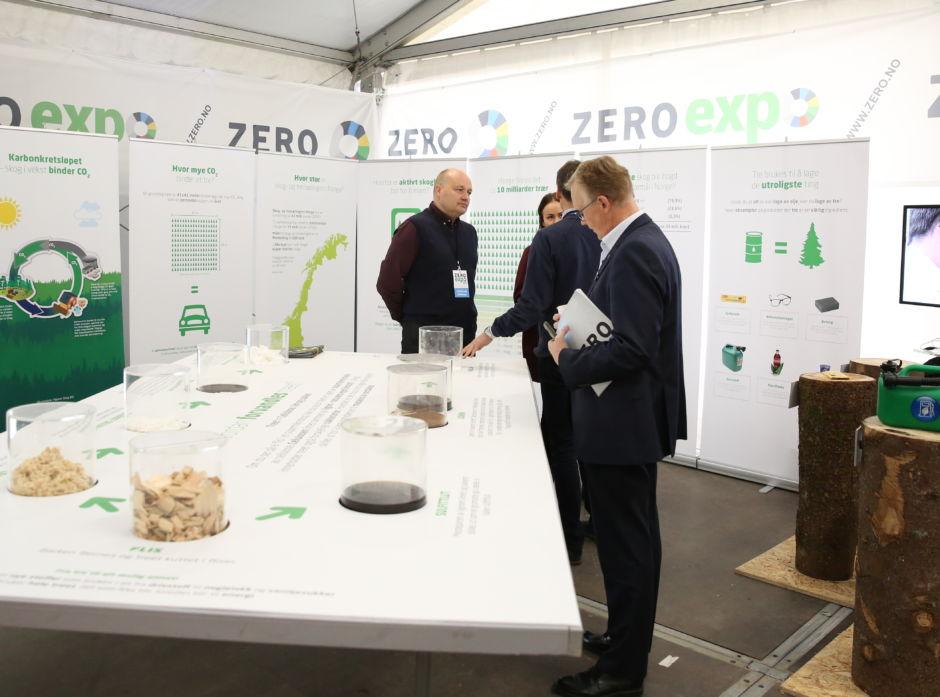 Fra Skogeierforbundets og Borregaards felles stand på Zero Expo 2015 - om skogens muligheter i det grønne skiftet.