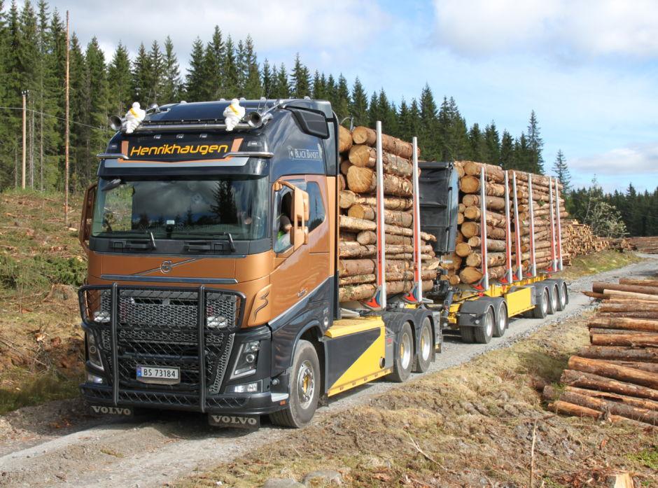 Tømmervogntog på 60 tonn.