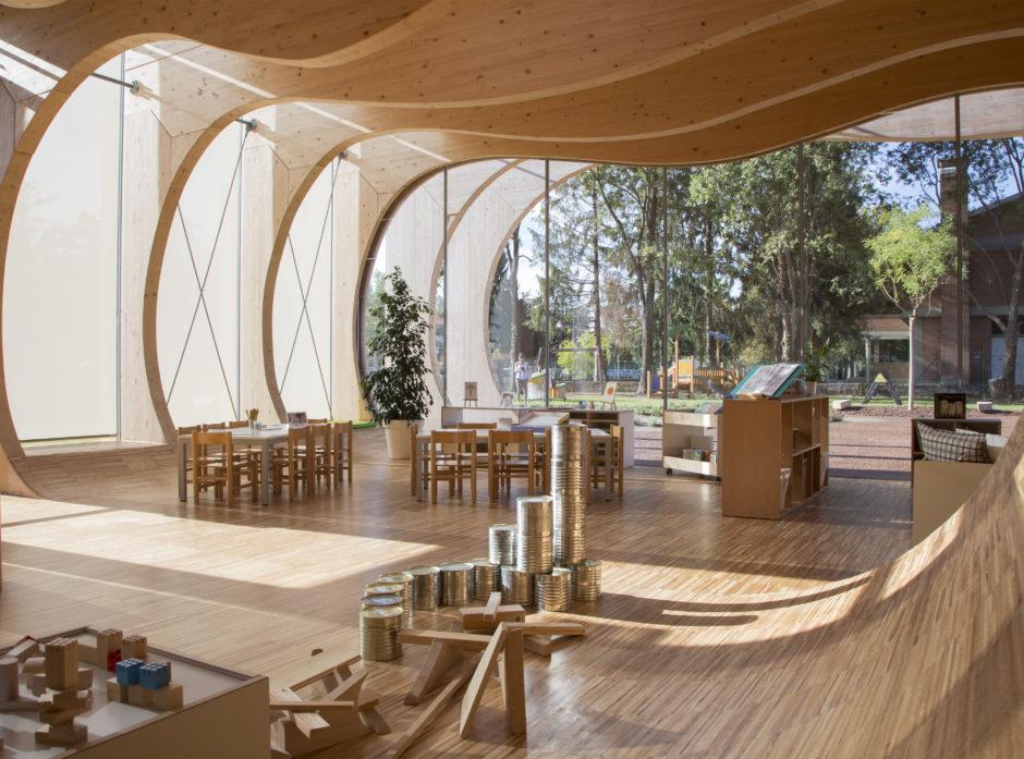 Barnehage i Italia bygget med pefc-sertifisert materiale.