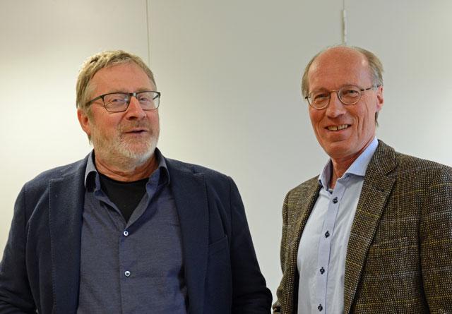 Styrelederne i Glommen Skog SA, Ole Th. Holth (t.v.) og Terje Uggen i Mjøsen Skog SA.