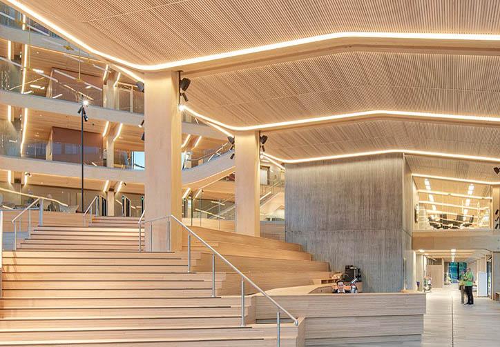 Tre er et klimavennlig byggemateriale. Her fra Finansparken i Stavanger. Foto: Sindre Ellingsen