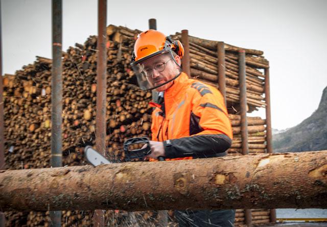 Statsråd Sveinung Rotevatn åpnet Kvamen Tømmerkai med å sage over en tømmerstokk med elektrisk motorsag.